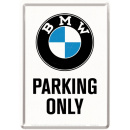"""Blechpostkarte """"BMW-Parking Only"""""""